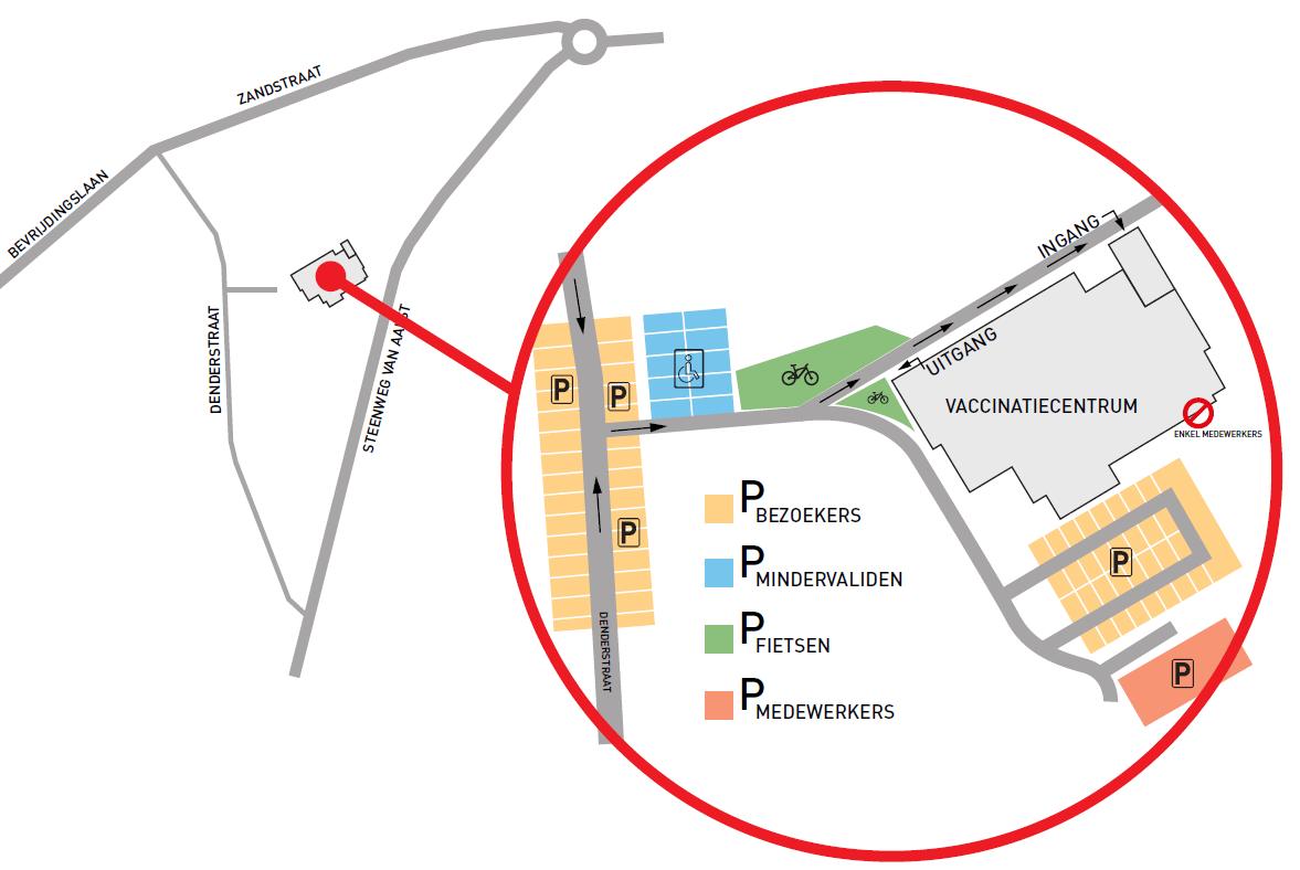 kaart met aanduiding ligging vaccinatiecentrum en parking