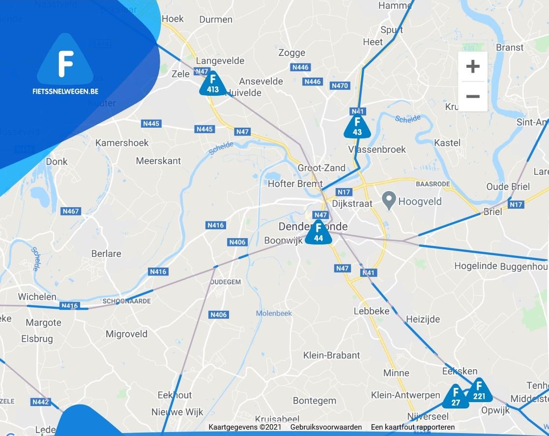 Kaart van fietssnelwegen grondgebied Dendermonde
